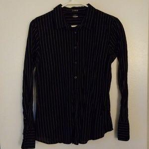 J crew black striped collared shirt